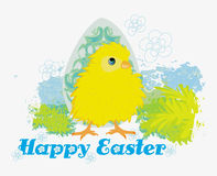 Cute Easter chick cartoon character,Happy Easter Card. Royalty Free Stock Image