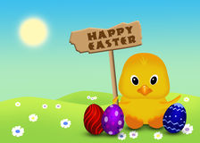 Cute Easter Chick with Sign Royalty Free Stock Photo