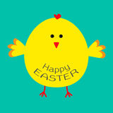 Cute easter chicken .  Card. Stock Photography