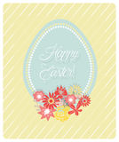 Cute Easter Egg and flowers card and hand written text Happy Easter Royalty Free Stock Photos