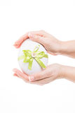 Cute easter egg with green loop Royalty Free Stock Photo