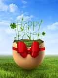 Cute Easter egg over sky background Stock Image