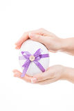 Cute easter egg with purple loop Royalty Free Stock Photography