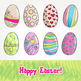 Cute Easter eggs illustration Stock Photos