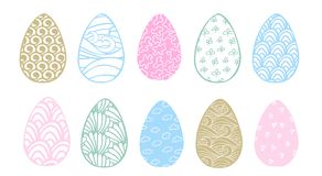 Cute easter eggs set with different colorful patterns royalty free illustration