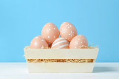 Cute easter eggs at vintage box Royalty Free Stock Photos