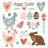 Cute easter elements set with eggs, hens, hare,flowers, s Stock Photography