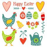 Cute easter elements set with eggs, hens, hearts a Royalty Free Stock Photos