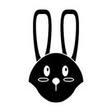 Cute easter face bunny pictogram Stock Images