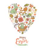Cute Easter festive banner. For greeting card with holiday traditional symbols in doodle style in heart shape Stock Image
