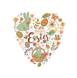 Cute Easter festive banner. For greeting card with holiday traditional symbols in doodle style in heart shape Royalty Free Stock Photography