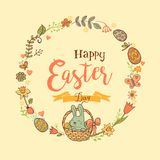 Cute Easter festive frame. Cute Easte festive frame for greeting card with holiday traditional symbols. in doodle style with Cute Easter Bunnes on beige Royalty Free Stock Images