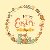 Cute Easter festive frame. Cute Easte festive frame for greeting card with holiday traditional symbols. in doodle style with Cute Easter Bunnes on beige Stock Images