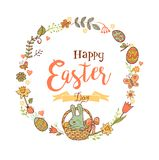 Cute Easter festive frame. Cute Easte festive frame for greeting card with holiday traditional symbols. in doodle style with Cute Easter rabbit in a basket on Stock Image