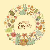 Cute Easter festive frame. Cute Easte festive frame for greeting card with holiday traditional symbols. in doodle style with Cute Easter Bunnes on beige Royalty Free Stock Image