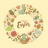 Cute Easter festive frame. For greeting card with holiday traditional symbols. in doodle style with Cute Easter rabbit in a basket Stock Image