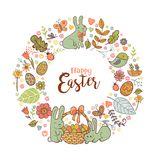 Cute Easter festive frame. Cute Easte festive frame for greeting card with holiday traditional symbols. in doodle style with Cute Easter Bunnes Stock Photos