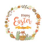 Cute Easter festive frame. Cute Easte festive frame for greeting card with holiday traditional symbols. in doodle style with Cute Easter Bunnes on white Stock Photo