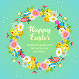 Cute easter floral with egg wreath Royalty Free Stock Photography