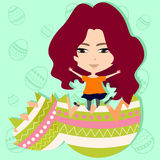 Cute Easter girl in easter egg background (vector) Royalty Free Stock Images