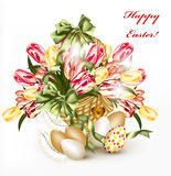 Cute Easter greeting card with basket full of realistic  tulips Stock Photos