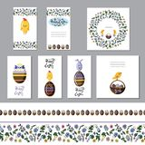 Cute easter greeting card set with chocolate eggs and seamless borders. Flat vector stock illustration