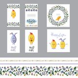 Cute easter greeting card set with motley eggs and seamless borders. Flat vector stock illustration
