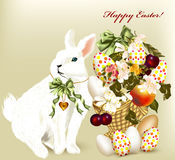 Cute Easter greeting card with white Easter bunny, eggs and flow vector illustration