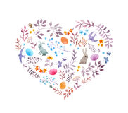Cute easter heart with rabbits, eggs, vintage flowers, birds. Watercolor Stock Photos