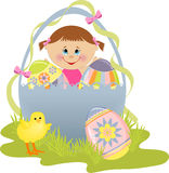 Cute Easter illustration with child Royalty Free Stock Photo