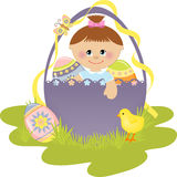 Cute Easter illustration with child Royalty Free Stock Photography