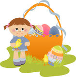 Cute Easter illustration with child Royalty Free Stock Images