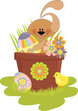 Cute Easter illustration with rabbit Stock Photos