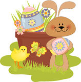 Cute Easter illustration with rabbit Royalty Free Stock Image