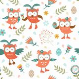 Cute Easter owls pattern Royalty Free Stock Photo