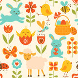 Cute Easter pattern. Cute seamless pattern with Easter symbols