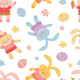 Cute Easter pattern with bunnies Royalty Free Stock Image