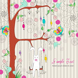 Cute Easter rabbit. Vector illustration of cute Easter rabbit sitting on a swing on floral background Royalty Free Stock Images