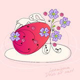 Cute Easter rabbit. Vector doodle illustration of cute Easter rabbit sleeping on Easter Egg Royalty Free Stock Images