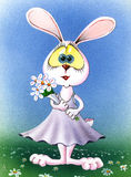 Cute easter rabbit girl. watercolor Stock Photo