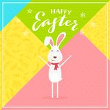 Abstract colorful background with rabbit and text Happy Easter. Cute Easter rabbit with scarf and lettering Happy Easter on abstract colorful background stock illustration