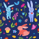 Cute Easter rabbits seamless pattern blue Stock Photos