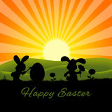 Cute Easter Rabbits Silhouette Stock Image