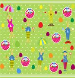 Cute Easter seamless with bunnies and eggs Royalty Free Stock Images