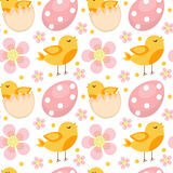 Cute Easter seamless pattern with birds and eggs. Endless Spring background, texture, digital paper. Vector illustration Royalty Free Stock Photo
