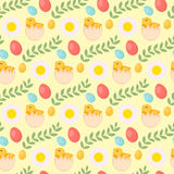Cute Easter seamless pattern with chick, eggs and flowers, endless backdrop. Holiday background, texture, digital paper Stock Photos