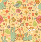 Cute Easter seamless pattern. In doodle style with Cute Easter rabbits Royalty Free Stock Photos