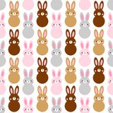 Cute Easter seamless pattern design with funny cartoon characters of bunnies. For your decoration Stock Photo