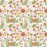 Cute Easter seamless pattern. In doodle style with Cute Easter rabbits Stock Photo