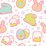 Cute Easter seamless pattern with Easter eggs, rabbit, Easter bunny and Easter cakes Stock Photo